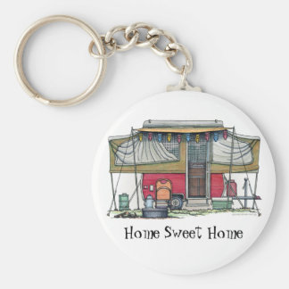 Cute RV Vintage Popup Camper Travel Trailer Keychain