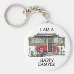 Cute RV Vintage Popup Camper Travel Trailer Basic Round Button Keychain