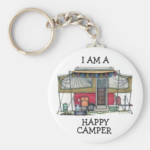 Cute RV Vintage Popup Camper Travel Trailer Keychain