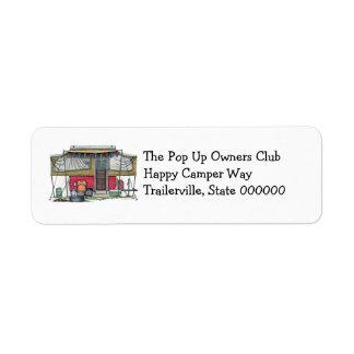 Cute RV Vintage Popup Camper Travel Trailer Custom Return Address Labels