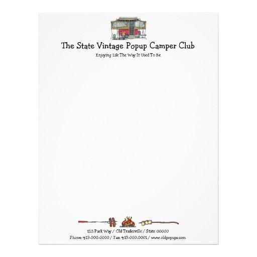 Cute RV Vintage Popup Camper Travel Trailer Letterhead Template