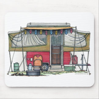 Cute RV Vintage Popup Camper Travel Trailer Mouse Pad