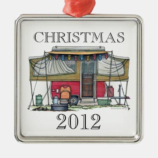 Cute RV Vintage Popup Camper Travel Trailer Square Metal Christmas Ornament