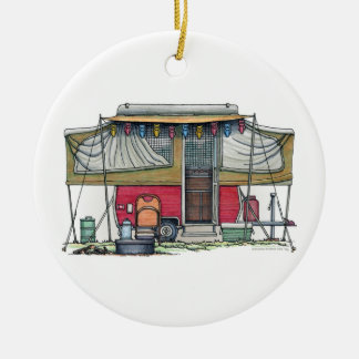 Cute RV Vintage Popup Camper Travel Trailer Double-Sided Ceramic Round Christmas Ornament