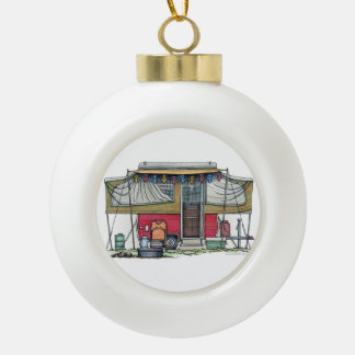 Cute RV Vintage Popup Camper Travel Trailer Ceramic Ball Christmas Ornament
