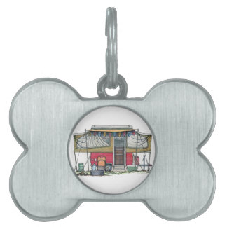 Cute RV Vintage Popup Camper Travel Trailer Pet Tag