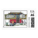 Cute RV Vintage Popup Camper Travel Trailer Postage Stamps