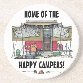 Cute RV Vintage Popup Camper Travel Trailer Sandstone Coaster