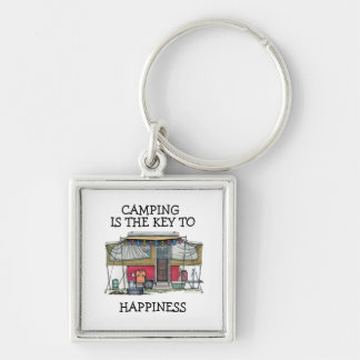 Cute RV Vintage Popup Camper Travel Trailer Silver-Colored Square Keychain