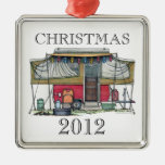 Cute RV Vintage Popup Camper Travel Trailer Square Metal Christmas Ornament
