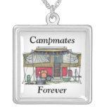 Cute RV Vintage Popup Camper Travel Trailer Square Pendant Necklace