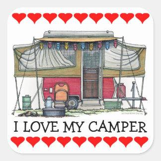 Cute RV Vintage Popup Camper Travel Trailer Square Sticker