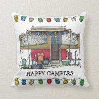 Cute RV Vintage Popup Camper Travel Trailer Throw Pillow