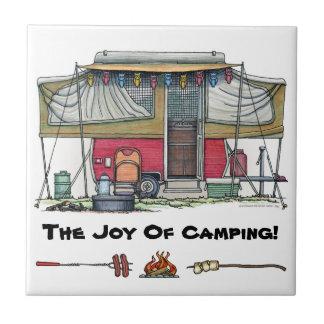 Cute RV Vintage Popup Camper Travel Trailer Tile