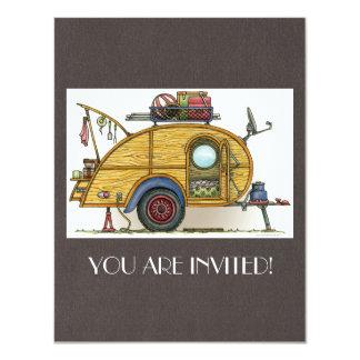 Cute RV Vintage Teardrop  Camper Travel Trailer 4.25x5.5 Paper Invitation Card