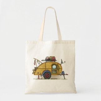 Cute RV Vintage Teardrop  Camper Travel Trailer Budget Tote Bag