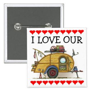 Cute RV Vintage Teardrop  Camper Travel Trailer 2 Inch Square Button