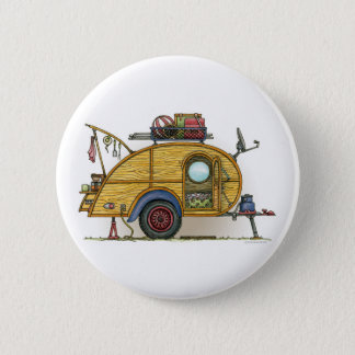 Cute RV Vintage Teardrop  Camper Travel Trailer Button
