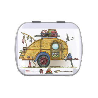 Cute RV Vintage Teardrop  Camper Travel Trailer Jelly Belly Candy Tin