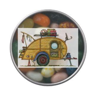 Cute RV Vintage Teardrop  Camper Travel Trailer Candy Tins