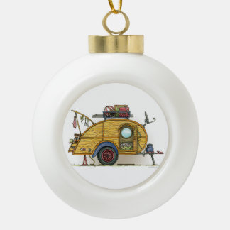 Cute RV Vintage Teardrop  Camper Travel Trailer Ceramic Ball Christmas Ornament