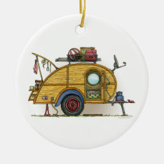 Cute Rv Vintage Teardrop  Camper Travel Trailer Ceramic Ornament at Zazzle