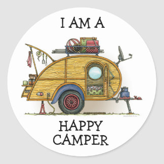 Cute RV Vintage Teardrop  Camper Travel Trailer Classic Round Sticker