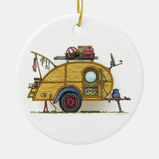 Cute RV Vintage Teardrop  Camper Travel Trailer Double-Sided Ceramic Round Christmas Ornament