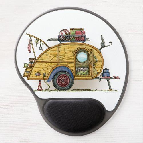 Cute RV Vintage Teardrop  Camper Travel Trailer Gel Mouse Pad