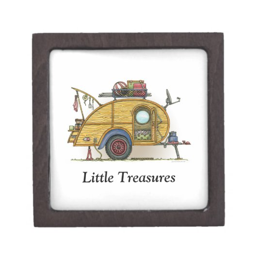 Cute RV Vintage Teardrop  Camper Travel Trailer Gift Box