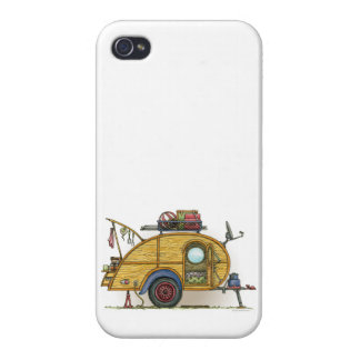 Cute RV Vintage Teardrop  Camper Travel Trailer iPhone 4 Cases