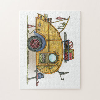 Cute RV Vintage Teardrop  Camper Travel Trailer Jigsaw Puzzle