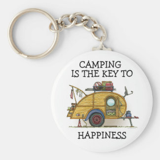 Cute RV Vintage Teardrop  Camper Travel Trailer Keychain