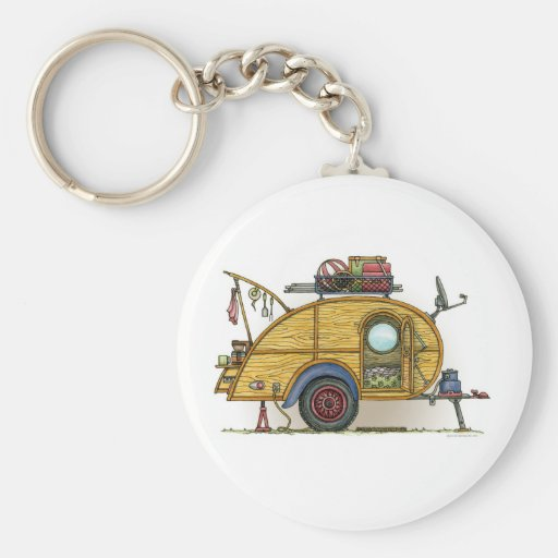 Cute RV Vintage Teardrop  Camper Travel Trailer Key Chains