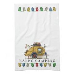 Cute RV Vintage Teardrop  Camper Travel Trailer Hand Towel
