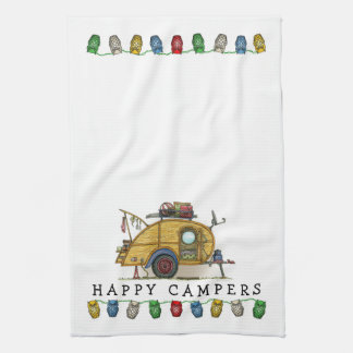 Cute RV Vintage Teardrop  Camper Travel Trailer Kitchen Towel