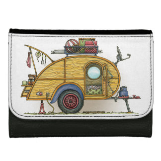 Cute RV Vintage Teardrop  Camper Travel Trailer Leather Wallet For Women