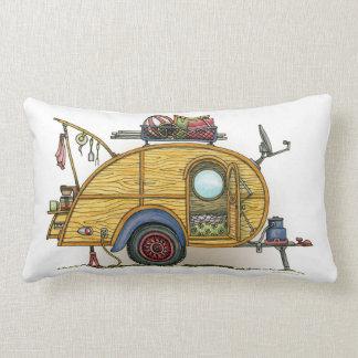 Cute RV Vintage Teardrop  Camper Travel Trailer Lumbar Pillow