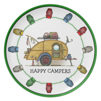 Cute RV Vintage Teardrop  Camper Travel Trailer Melamine Plate