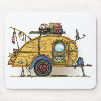 Cute RV Vintage Teardrop  Camper Travel Trailer Mouse Pads