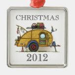 Cute RV Vintage Teardrop  Camper Travel Trailer Square Metal Christmas Ornament