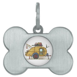 Cute RV Vintage Teardrop  Camper Travel Trailer Pet Tag