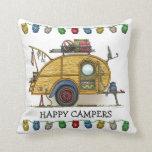 Cute RV Vintage Teardrop  Camper Travel Trailer Pillows