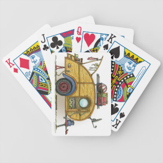 Cute RV Vintage Teardrop  Camper Travel Trailer Bicycle Playing Cards