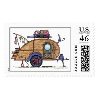 Cute RV Vintage Teardrop  Camper Travel Trailer Stamps