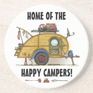 Cute RV Vintage Teardrop  Camper Travel Trailer Sandstone Coaster