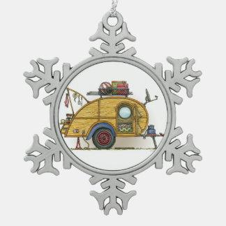 Cute RV Vintage Teardrop  Camper Travel Trailer Snowflake Pewter Christmas Ornament