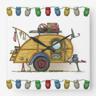Cute RV Vintage Teardrop  Camper Travel Trailer Square Wall Clock
