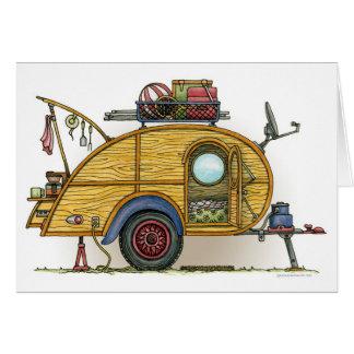 Cute RV Vintage Teardrop  Camper Travel Trailer Stationery Note Card