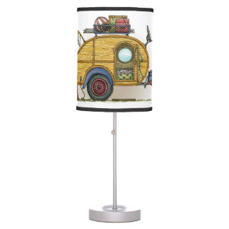 Cute RV Vintage Teardrop  Camper Travel Trailer Table Lamp